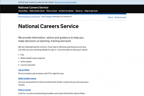 Screenshot of National Careers Service website