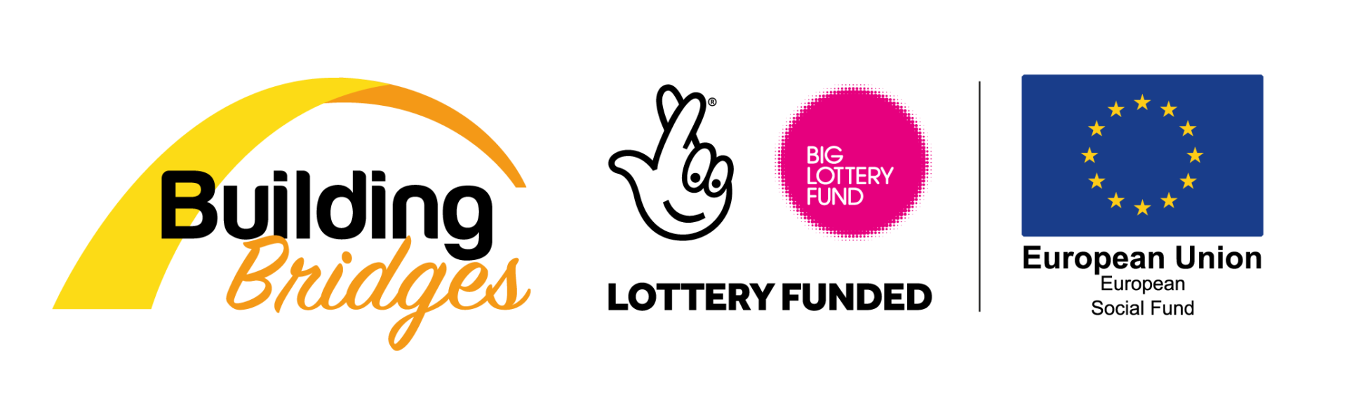 Building Bridges, Big Lottery Fund and European Social Fund's logos