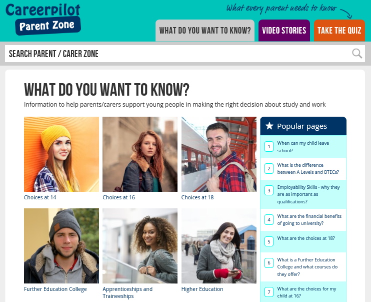 A thumbnail picture of the Parent Zone website