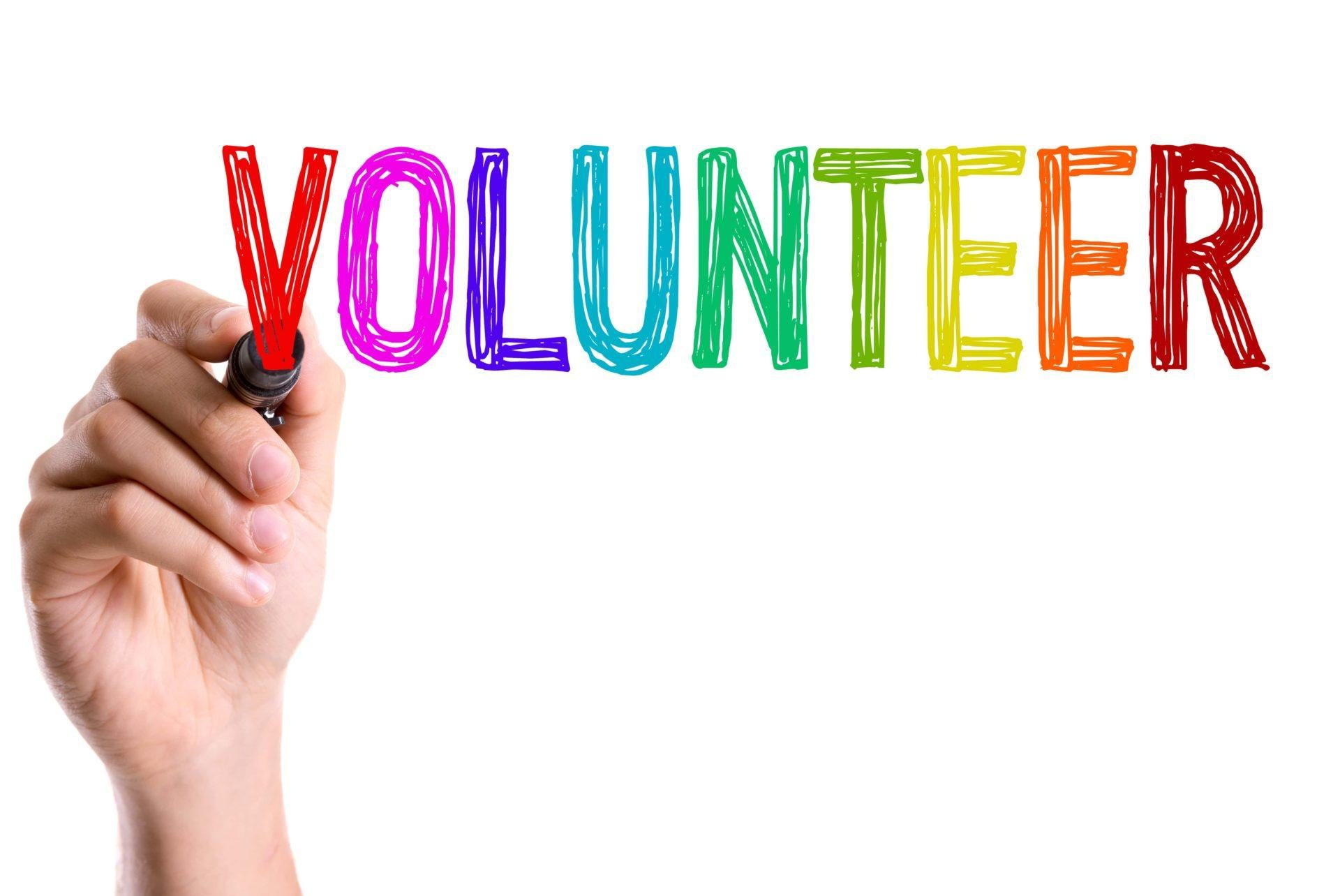 the word Volunteer is displayed