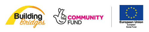 The Building Bridges programme logo along with funding partners Big Lottery Community Fund and the European Social Fund