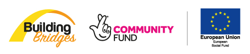 The Building Bridge's programme logo along with Big Lottery Community Fund and European Social Fund