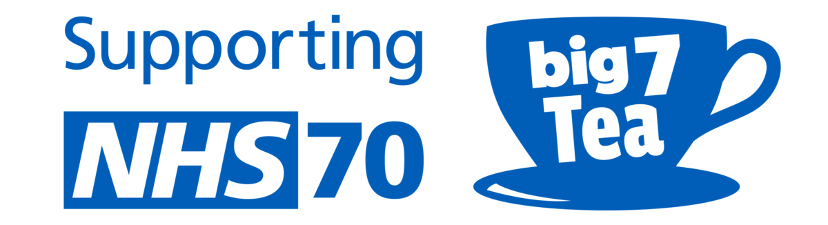 A blue teacup and NHS logo