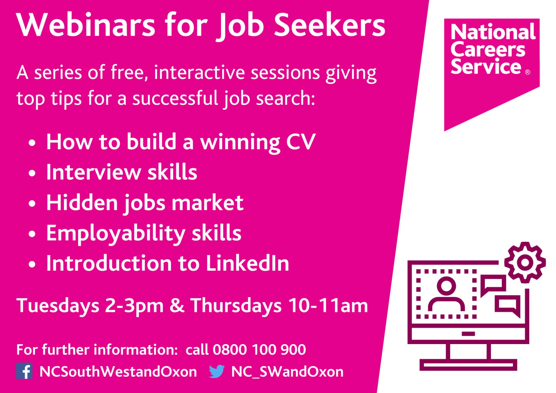 National Careers Service webinars for job seekers banner