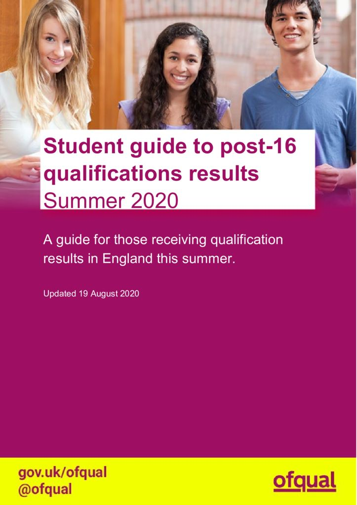 thumbnail of 20200819 Student guide to post 16 qualifications results summer 2020