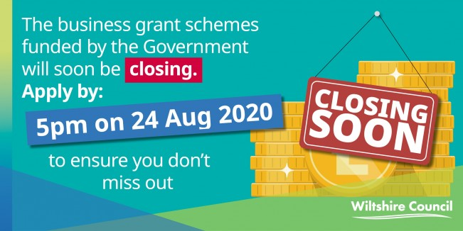 Wiltshire Council Business Grant funding deadline banner