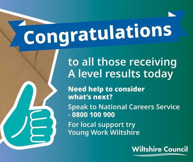 A message of congratulations to those receiving A Level results