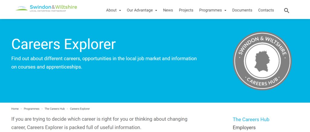 A screenshot of the Careers Explorer website