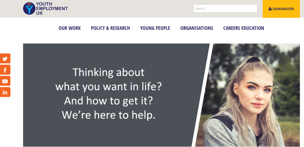 A screenshot of the Youth Employment UK website