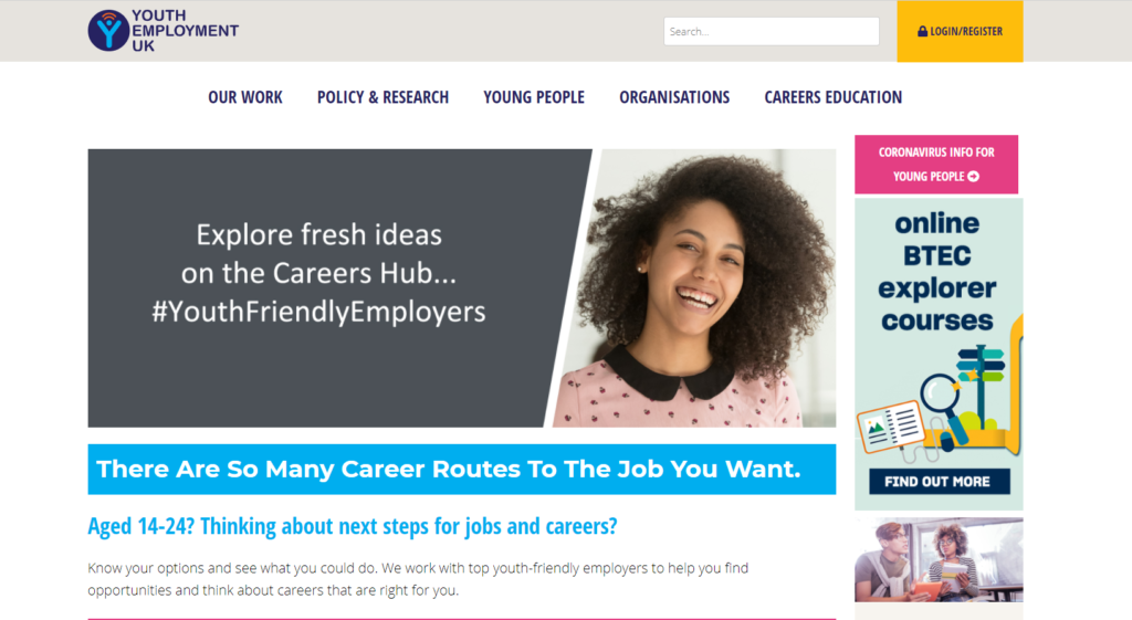 Screenshot of Youth Employment UK Careers hub page