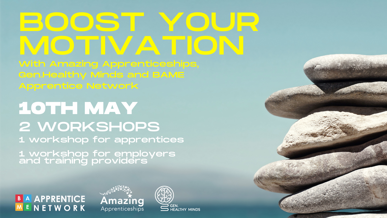 Amazing Apprenticeship poster for Boost Your Motivation workshop focusing on mental health 10th May